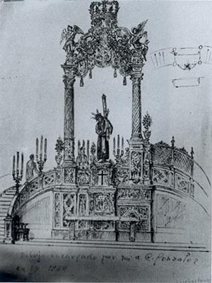 Boceto de altar para Pasión en San Hermenegildo, obra de Cayetano González