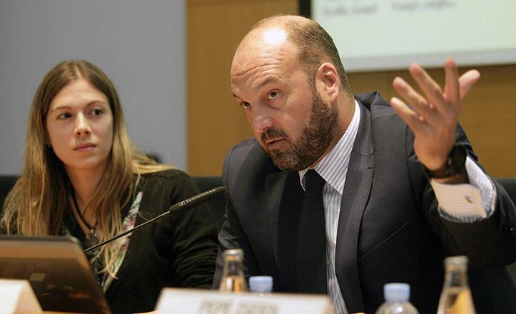 Curro Pérez durante la presentación de los avances en la marca «Sevilla» en Barcelona