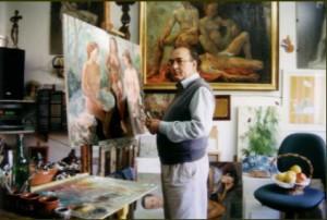 Diego Coca en su estudio, y casa, de la calle Paraguay