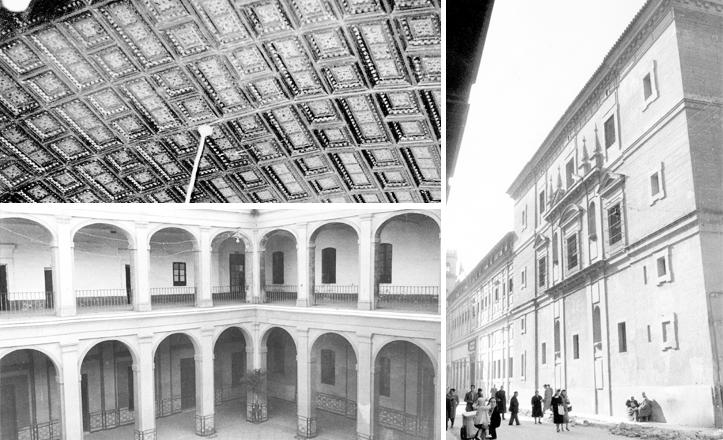 artesonado de uno de los salones, patio del colegio de San Hermenegildo y fachada lateral, cuando todo era Cuartel