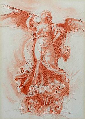 La Fama, dibujo de José Antonio Sánchez Baillo