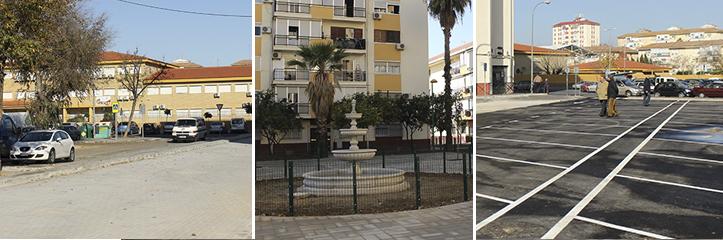Nuevo aspecto de la plaza Bib Rambla, de Alcosa, tras la reciente reurbanización / Fran Piñero