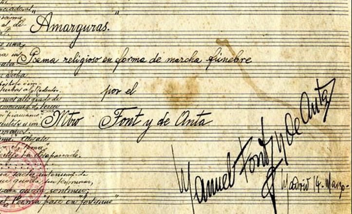Partitura de «Amargura», firmada por Manuel Font de Anta