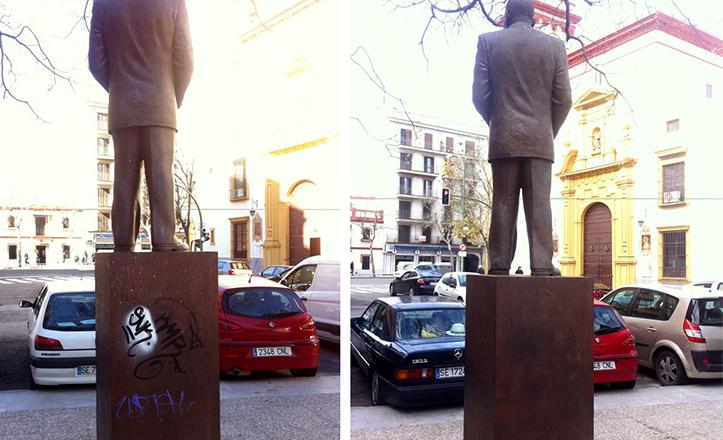 Antes y después de la limpieza de la estatua de Antonio Machín en la plaza de Carmen Benítez
