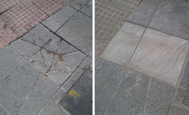 Antes y después de una actuación vía REUR 072 en Nervión