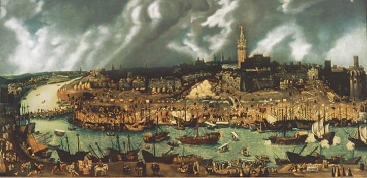 Este lienzo atribuido a Alonso Sánchez Coello muestra Sevilla en tiempos de la Casa de la Contratación