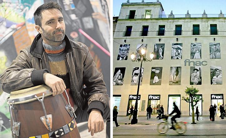 El fotógrafo Aitor Lara, autor de los rostros de la fachada de Fnac Sevilla