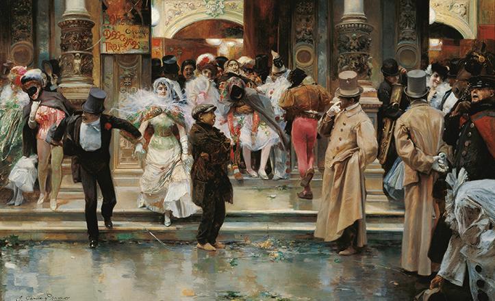 En 1905 pintaba José García Ramos esta «Salida de un baile de máscaras»