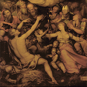 El escorzo de la pierna (gamba), define a la «Alegoría de la Inmaculada Concepción»