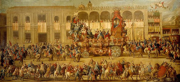 «El Carro del Parnaso» (homenaje de Apolo y las Tres Nobles Artes a los monarcas)