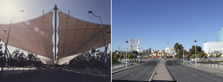 El entonces flamante puente de la Barqueta daba acceso a la puerta este de la Expo, una zona no especialmente cambiada / Archivo - F. Piñero