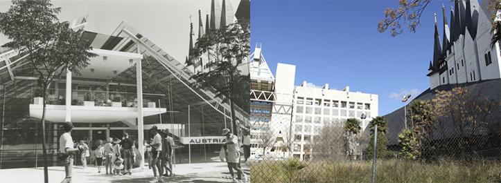 A la izquierda, el Pabellón de Austria durante la Expo. A la derecha, un solar que deja ver el pabellón de Italia y de Hungría / Archivo-F. Piñero