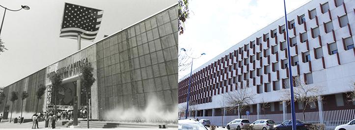La pared acristalada del Pabellón estadounidense ha dado paso a los remates color burdeos de la Facultad de Comunicación / Archivo - F. Piñero