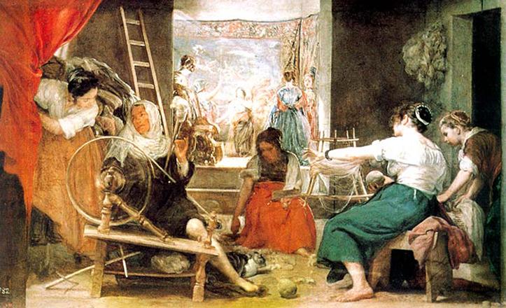«Las Hilanderas» es el sobrenombre de «La Fábula de Aracne», obra de Velázquez de 1657, su última etapa