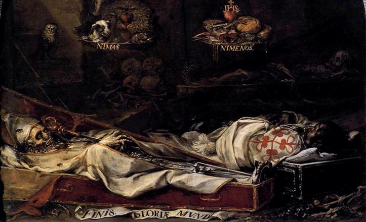 Fragmento de «Finis Gloriae Mundi», acerca de la vanidad humana, en el Hospital de la Caridad