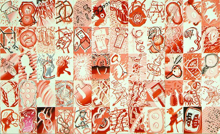 La «Serie Roja 2», de Luis Gordillo (1982) contiene incontables motivos donde no faltan objetos cotidianos