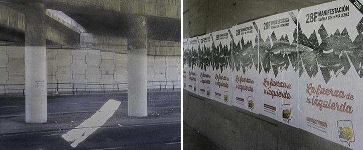 Puente de Este-Alcosa-Torreblanca antes y después de fijar los carteles de corte político