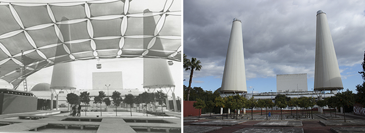 El Pabellón de España visto desde la entonces avenida de Europa, hoy Isaac Newton / Archivo - F. Piñero