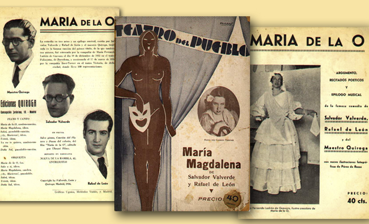 Carátulas de las comedias de Valverde, León y Quiroga basadas en sus éxitos musicales
