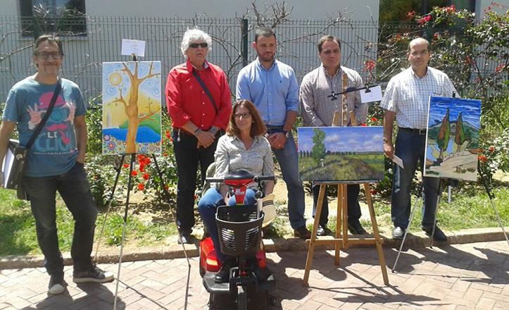 Jaime Ruiz con los ganadores del III Certamen de Pintura San Pablo-Santa Justa