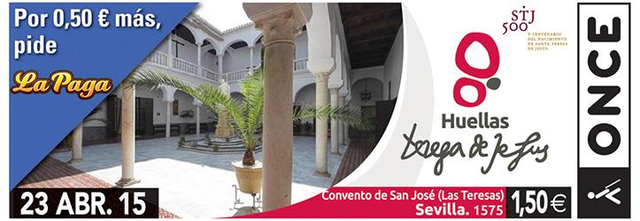 Cupón de la Once del 23 de abril, con el convento de San José de las Teresas de Sevilla