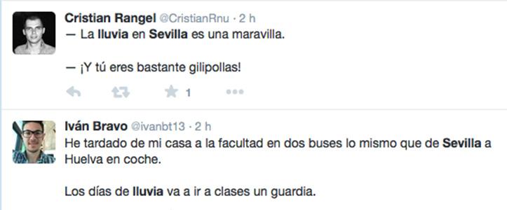 La lluvia en Sevilla es...