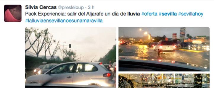 Un tuit de la lluvia en Sevilla