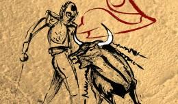 Toro y torero. Dibujo de José María Nieto