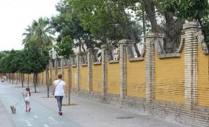 La parcela triangular del Arias Montano queda delimitada por un muro de remates piramidales / F. Piñero