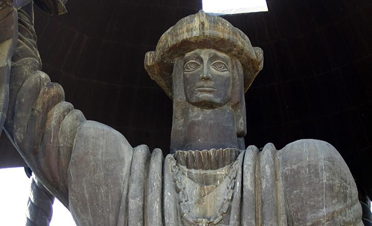 Detalle del rostro de Colón según Tsetereli en «El Nacimiento de un nuevo hombre» / Vanessa Gómez