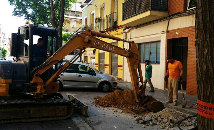 Obras en la calle José María de Pereda
