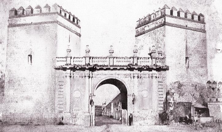 Calotipo de una de la Puerta de Carmona, Puerta Nueva o de San Fernando.