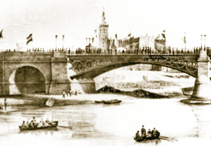 Inauguración del Puente de Isabel II o de Triana. Detalle de un calotipo realizado en 1852 por Leygonier.