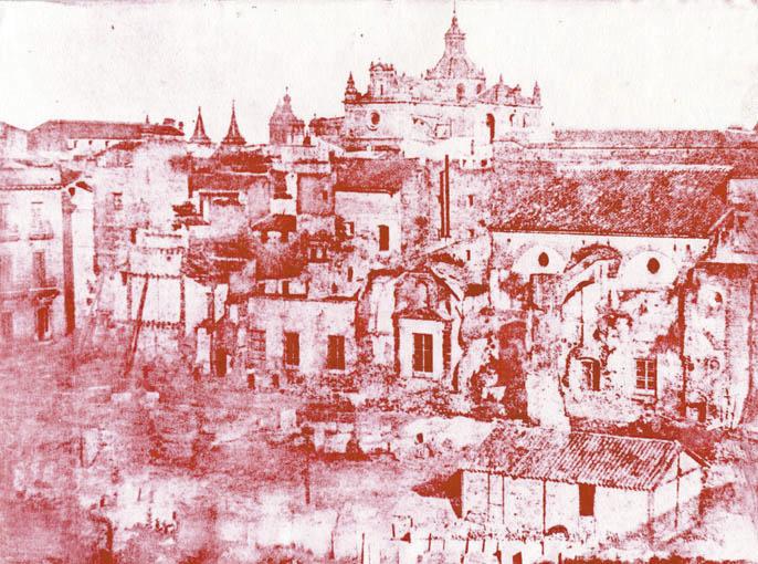 Derribo del Convento de San Francisco. Calotipo realizado en 1841 por Leygonier.