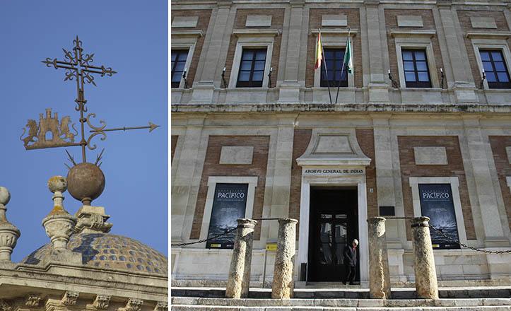 Cinco pares de leones, avalanzándose sobre cinco torres castellanas, indican el viento en el Archivo de Indias / Fran Piñero - Raúl Doblado