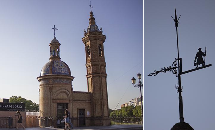 El sereno Marchena o «El veleta» son el remate en hierro de la torre de la Capilla del Carmen / Fran Piñero
