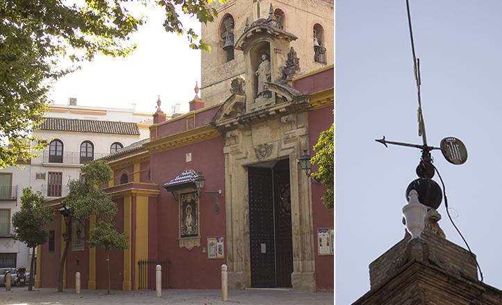En la veleta, como en otros lugares de la iglesia de San Lorenzo, se aprecia la parrilla del martirio / Fran Piñero