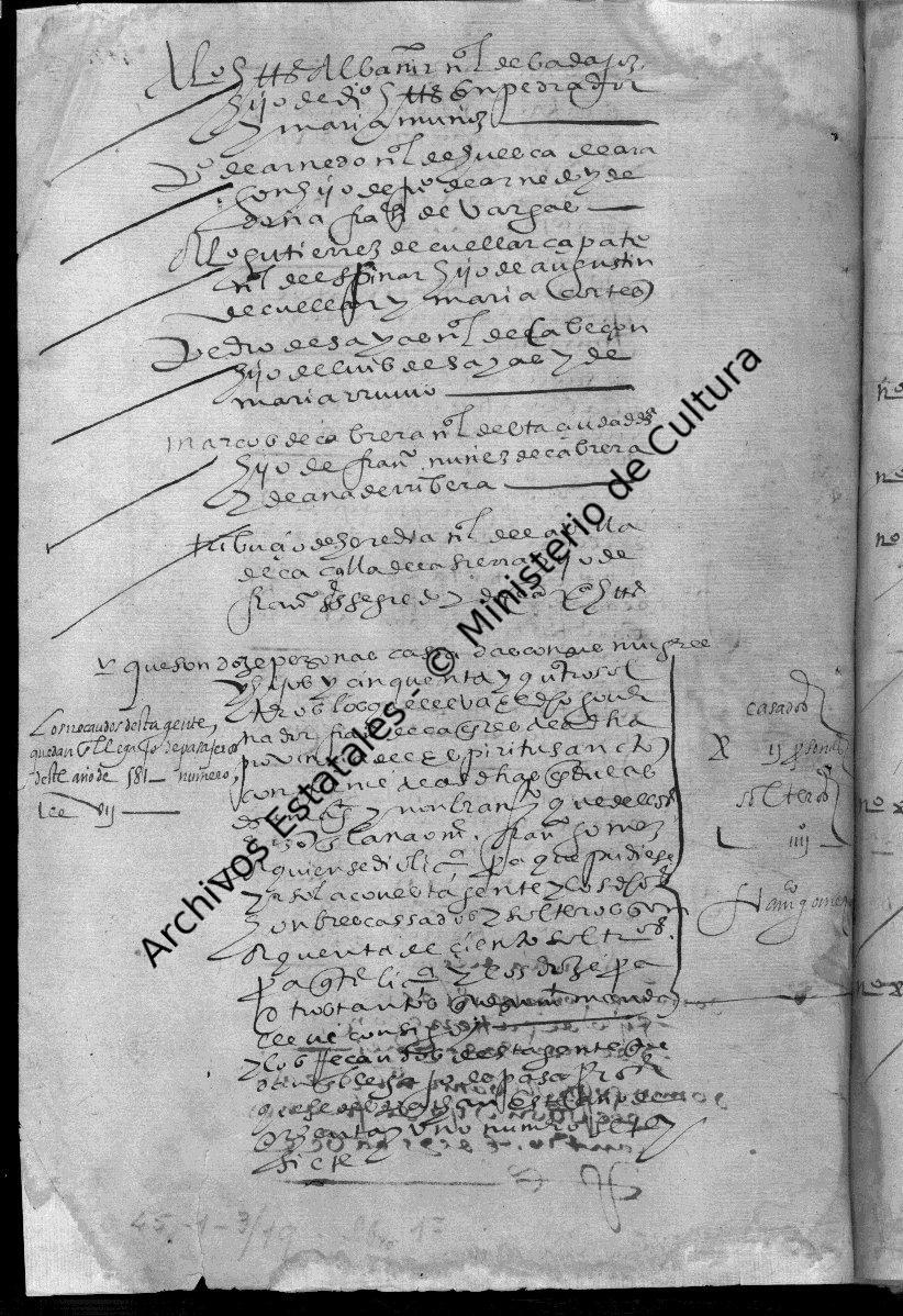 Documento del Archivo de Indias donde se cita a Marcos Cabrera