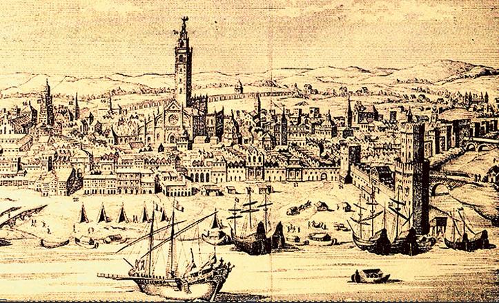 Grabado de la Catedral de Sevilla y el río Guadalquivir