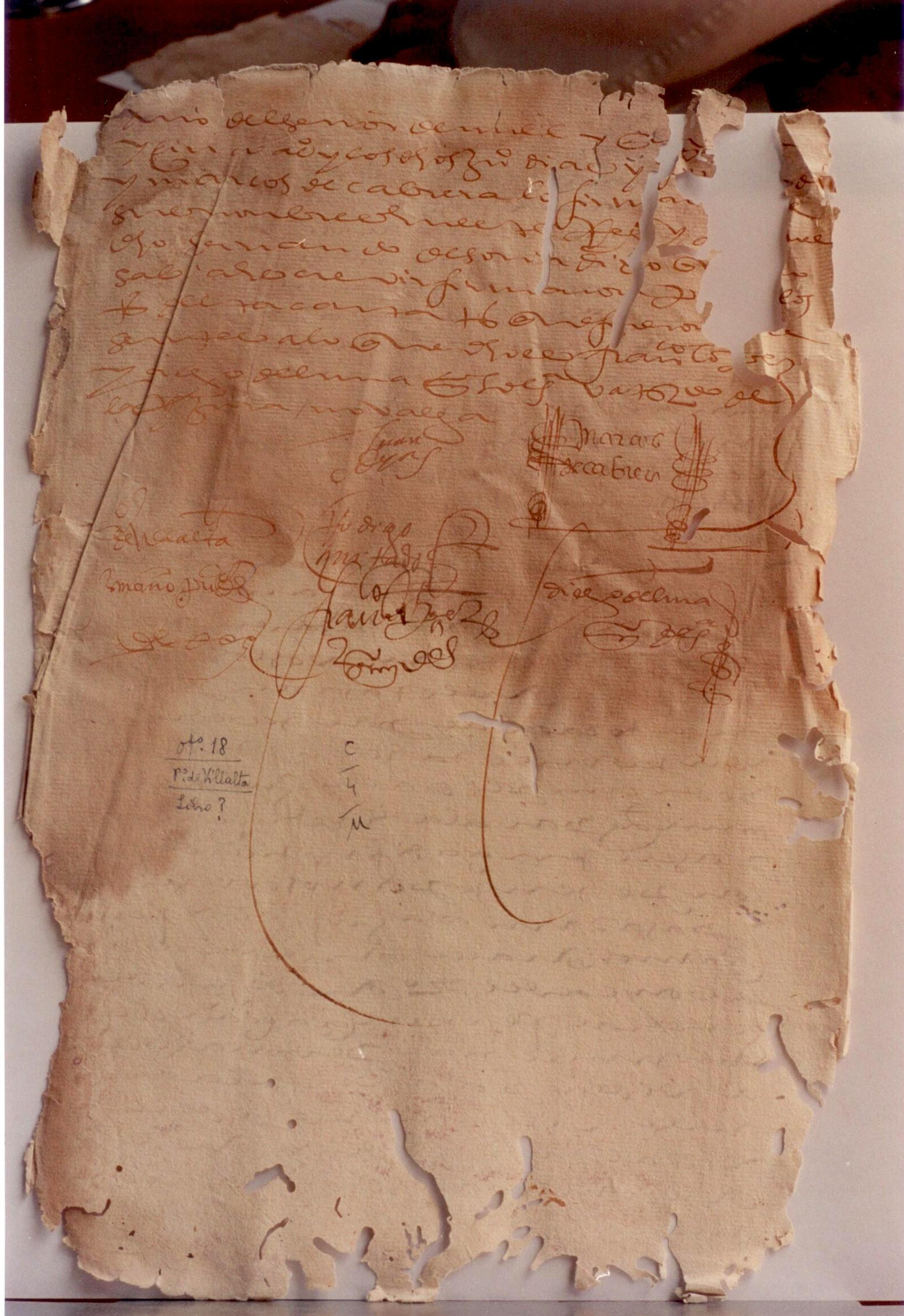 La firma de Marcos Cabrera en el contrato del Cristo del Museo