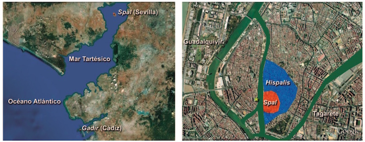 Aproximación sobre la situación del valle del Guadalquivir en el siglo VIII a.C. y de Sevilla en el siglo II d.C. El asterisco marca el lugar de Plaza Nueva. (C.C.T)