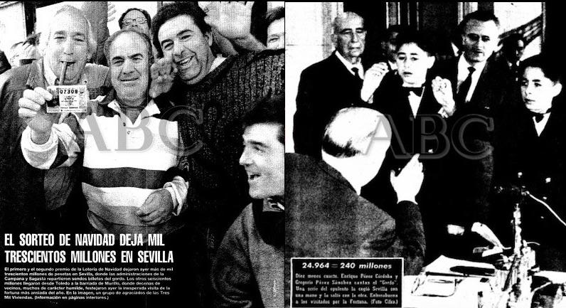 Portadas de ABC de Sevilla de los Gordos de Navidad de 1998 y 1961
